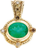 Estate Jewelry:Pendants and Lockets, Emerald, Colored Diamond, Gold Pendant. The pendant features anoval-shaped emerald measuring 16.00 x 12.50 x 8.60 mm and ...(Total: 1 Item)