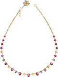 Estate Jewelry:Necklaces, Ruby, Multi-Color Sapphire, Gold Necklace. The necklace features oval-shaped rubies, alternating on a fancy link chain wit... (Total: 1 Item)