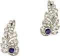 Estate Jewelry:Earrings, Diamond, Sapphire, Platinum Earrings. Each earring, designed as afeather, features a round-cut sapphire weighing approxim... (Total:1 Item)