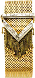Estate Jewelry:Bracelets, Diamond, Gold Bracelet. The bracelet, designed as a belt buckle,features baguette-cut diamonds weighing a total of approx...(Total: 1 Item)