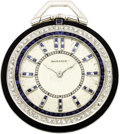 Timepieces:Pocket (post 1900), Agassiz Diamond, Sapphire, Enamel, Platinum Openface Pocket Watch, circa 1930. Case: 40 mm, 3-ring: outer black enamel, mi... (Total: 1 Item)