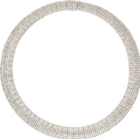 Diamond, White Gold Necklace  The necklace features full-cut diamonds weighing a total of approximately 36.50 carats, se...