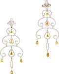 Estate Jewelry:Earrings, Colored Diamond, Diamond, Gold Earrings. Each chandelier earringfeatures full-cut diamonds weighing a total of approximat...(Total: 1 Item)