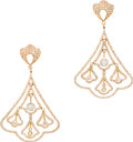 Estate Jewelry:Earrings, Diamond, Pink Gold Earrings. The chandelier earrings featurefull-cut diamonds weighing a total of approximately 5.50 cara...(Total: 1 Item)
