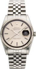 Timepieces:Wristwatch, Rolex Men's Stainless Steel Oyster Perpetual Datejust BraceletWristwatch, circa 1991. Case: 43 x 35 mm, matte finished st...(Total: 1 Item)