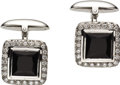 Estate Jewelry:Cufflinks, Diamond, Black Onyx, White Gold Cuff Links. Each cuff link centersa square-cut faceted black onyx, enhanced by full-cut d... (Total:1 Item)