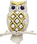 Estate Jewelry:Brooches - Pins, Diamond, Sapphire, Gold Brooch, English. The handmade brooch, designed as an owl on a branch, features full-cut diamonds w... (Total: 1 Item)