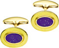 Estate Jewelry:Cufflinks, Lapis Lazuli, Enamel, Gold Cuff Links, English. Each cuff linkfeatures an oval-shaped lapis lazuli tablet, enhanced by go...(Total: 1 Item)