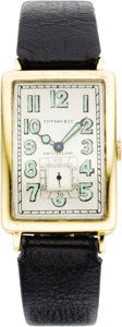 Timepieces:Wristwatch, Agassiz Men's Gold, Leather Strap Wristwatch, circa 1926, Retailed by Tiffany & Co.. Case: 41 x 24 mm, rectangular-sha... (Total: 1 Item)