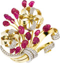 Estate Jewelry:Brooches - Pins, Ruby, Diamond, Citrine, Gold Brooch. The brooch features leaf-shaped ruby carvings, enhanced by full-cut diamonds weighing... (Total: 1 Item)