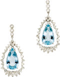 Estate Jewelry:Earrings, Aquamarine, Diamond, White Gold Earrings. Each earring features apear-shaped aquamarine measuring 21.00 x 12.50 x 8.85 mm... (Total:1 Item)