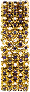 Estate Jewelry:Bracelets, Diamond, Sapphire, Gold Bracelet. The bracelet, designed with afloral motif, features full-cut diamonds weighing a total ...(Total: 1 Item)
