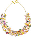 Estate Jewelry:Necklaces, Multi-Color Sapphire, Gold Necklace. The necklace featuresbriolette-cut sapphires in various colors, including: blue, gre...(Total: 1 Item)