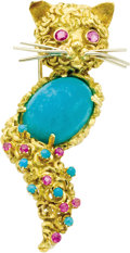 Estate Jewelry:Brooches - Pins, Ruby, Amazonite, Turquoise, Gold Brooch. The brooch, designed as a cat, features round-cut rubies, enhanced by turquoise c... (Total: 1 Item)