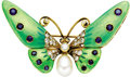 Estate Jewelry:Brooches - Pins, Sapphire, Diamond, Cultured Pearl, Enamel, Gold Brooch. The brooch, designed as a butterfly, features round-cut sapphires ... (Total: 1 Item)