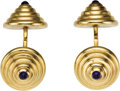 Estate Jewelry:Cufflinks, Sapphire, Gold Cuff Links, Cartier. Each cuff link features two cabochon end terminals, set in 14k yellow gold. Signed Car... (Total: 1 Item)