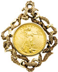 Estate Jewelry:Pendants and Lockets, Gold Coin, Gold Pendant. The pendant features a $20 U.S. Libertygold coin, dated 1927, resting within a textured 14k yell...(Total: 1 Item)