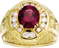 Estate Jewelry:Rings, Gentleman's Garnet, Diamond, Gold Ring. The ring features an oval-shaped garnet measuring 10.45 x 9.00 x 5.50 mm and weigh... (Total: 1 Item)