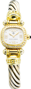 Timepieces:Wristwatch, David Yurman Lady's Diamond, Gold, Sterling Silver BangleWristwatch, modern. Case: 20 mm, cushion-shaped 18k yellow gold ...(Total: 1 Item)