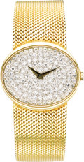 Timepieces:Wristwatch, Baume & Mercier Men's Diamond, Gold Integral Woven Bracelet Wristwatch, circa 1990. Case: 27 x 31 mm, oval-shaped 18k yell... (Total: 1 Item)