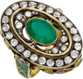 Estate Jewelry:Rings, Emerald, Diamond, Gold Ring, Russian. The ring is highlighted by anoval-shaped emerald measuring 11.50 x 8.00 x 6.85 mm a... (Total: 1Item)
