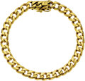 Estate Jewelry:Bracelets, Gentleman's Gold Bracelet. The bracelet features 18k yellow goldswedged curb links, completed by a box clasp. Gross weigh...(Total: 1 Item)