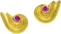 Estate Jewelry:Earrings, Pink Tourmaline, Gold Earrings, Vahe Naltchayan. Each earring features a pink tourmaline cabochon weighing approximately 2... (Total: 1 Item)