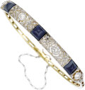 Estate Jewelry:Bracelets, Sapphire, Diamond, Gold Bracelet, Russian. The hinged banglefeatures sugar loaf-cut sapphires, the largest measuring 6.75...(Total: 1 Item)