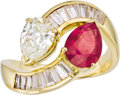 Estate Jewelry:Rings, Ruby, Diamond, Gold Ring. The bypass ring features a pear-shaped diamond measuring 8.50 x 6.00 x 3.65 mm and weighing appr... (Total: 1 Item)