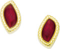 Estate Jewelry:Earrings, Enamel, Gold Earrings, Leverington. Each earring features a center panel of transparent red enamel, applied on 18k yellow ... (Total: 1 Item)