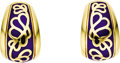 Estate Jewelry:Earrings, Blue Enamel, Gold Earrings, Leverington. Each earring, designed with a floral motif, features royal blue enamel applied on... (Total: 1 Item)