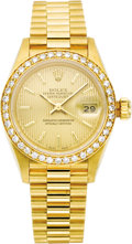 Timepieces:Wristwatch, Rolex Lady's Diamond, Gold Oyster Perpetual Datejust BraceletWatch, circa 1989. Case: 26 mm, brushed 18k yellow gold case...(Total: 1 Item)