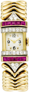 Timepieces:Wristwatch, Swiss Lady's Diamond, Ruby, Gold Integral Bracelet Wristwatch, circa 1940. Case: 35 x 16 mm, rectangular-shaped 14k yellow... (Total: 1 Item)