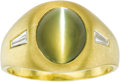 Estate Jewelry:Rings, Gentleman's Cat's Eye Chrysoberyl, Diamond, Gold Ring. The ringfeatures an oval-shaped cat's-eye chrysoberyl cabochon mea...(Total: 1 Item)