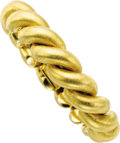 Estate Jewelry:Bracelets, Gold Bracelets. The pair of satin finished 18k yellow gold SanMarco link bracelets are completed by box clasps with figur...(Total: 1 Item)