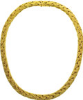 Estate Jewelry:Necklaces, Gold Necklace. The necklace features textured 18k yellow goldchains woven together, completed by a box clasp. Gross weigh...(Total: 1 Item)