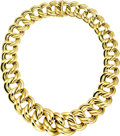 Estate Jewelry:Necklaces, Gold Necklace. The 14k yellow gold necklace features graduatedlinks, completed by a concealed clasp. Made in Italy. Gross...(Total: 1 Item)