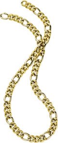 Estate Jewelry:Necklaces, Twotone Gold Necklace. The large curb link 18k white and yellowgold necklace is completed by a spring ring clasp. Made in...(Total: 1 Item)