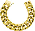 Estate Jewelry:Bracelets, Gold Bracelet. The brushed 14k yellow gold large link bracelet iscompleted by a box clasp. Gross weight 94.00 grams. . ...(Total: 1 Item)