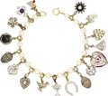Estate Jewelry:Bracelets, Diamond, Multi-Stone, Cultured Pearl, Enamel, Silver, Gold,Platinum Charm Bracelet. The bracelet features various charms ...(Total: 1 Item)
