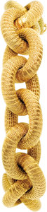 Estate Jewelry:Bracelets, Gold Bracelet. The 18k yellow gold large link bracelet featurescross-hatched texturing, completed by a box clasp with fig...(Total: 1 Item)