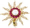 Estate Jewelry:Brooches - Pins, Diamond, Ruby, Gold Pendant-Brooch. The pendant-brooch, designed asa starburst, features a European-cut diamond measuring... (Total: 1Item)