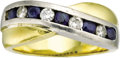 Estate Jewelry:Rings, Gentleman's Diamond, Sapphire, Platinum, Gold Ring. The ring features full-cut diamonds weighing a total of approximately ... (Total: 1 Item)