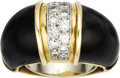 Estate Jewelry:Rings, Diamond, Black Onyx, Gold Ring. The ring centers a line of full-cut diamonds weighing a total of approximately 0.45 carat,... (Total: 1 Item)