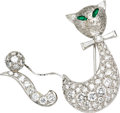 Estate Jewelry:Brooches - Pins, Diamond, Emerald, White Gold Brooch. The brooch, designed as a cat,features full, baguette, and pear-shaped diamonds weig... (Total: 1Item)