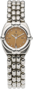 """Timepieces:Wristwatch, Chopard Lady's Stainless Steel """"Gstaad"""" Date Integral Bracelet Watch, modern. Case: 26 x 25 mm, tonneau-shaped stainless s... (Total: 1 Item)"""