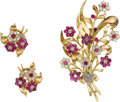 Estate Jewelry:Coin Jewelry and Suites, Diamond, Ruby, Gold Jewelry Suite. The suite, designed with a floral motif, includes: one brooch enhanced by rose-cut diam... (Total: 1 Item)