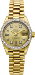Timepieces:Wristwatch, Rolex Lady's Diamond, Gold Oyster Perpetual Datejust BraceletWatch, circa 1983. Case: 33 mm, 18k yellow gold, after marke...(Total: 1 Item)
