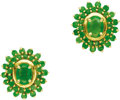 Estate Jewelry:Earrings, Emerald, Gold Earrings. Each earring features an oval-shapedemerald, encircled by round-cut emeralds, set in 18k yellow g...(Total: 1 Item)