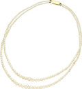Estate Jewelry:Necklaces, Cultured Pearl, Gold Necklace. The necklace is composed of cultured pearls ranging in size from 8.00 - 7.50 to 2.00 - 1.50... (Total: 1 Item)